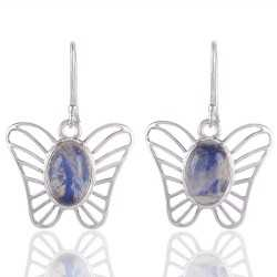 Rainbow Moonstone Butterfly Earring Sterling Silver