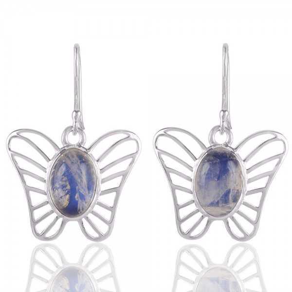 Rainbow Moonstone Butterfly Earring Sterling Silver