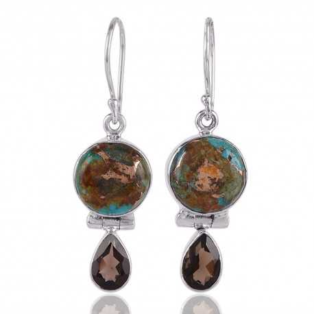 Boulder Copper Turquoise and Smoky Quartz Drop Earring Silver Jewelry
