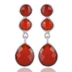 925 Silver and Red Onyx Three Stone Red Stone Earring