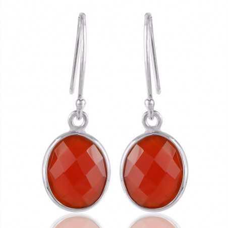 Solid Silver Red Onyx Gemstone Simple Single Stone Earring Bezel Set Earring