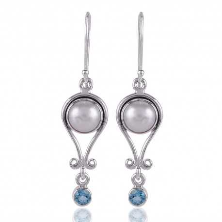 Pearl and Blue Topaz Simple Designer Silver Earring