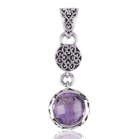 Amethyst Gemstone 925 Sterling Silver Cluster Pendant