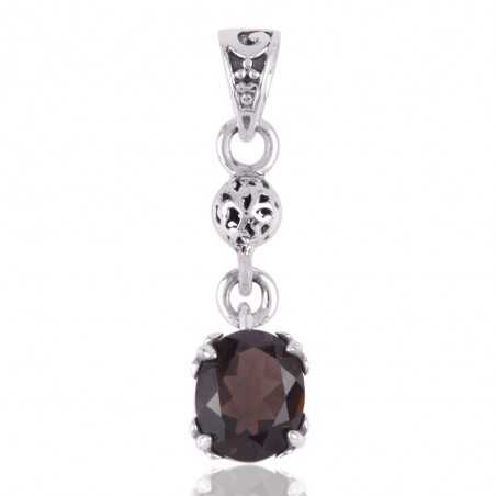 Smoky Quartz and Solid Silver Dangle Locket Pendant