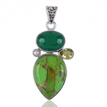 Green Copper Tuqruoise Green Onyx Lemon and Pearl Silver Pendant Necklace