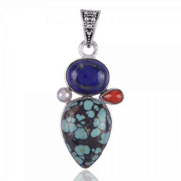 Turquoise Lapis Coral and Pearl Multi Stone Silver Pendant Necklace