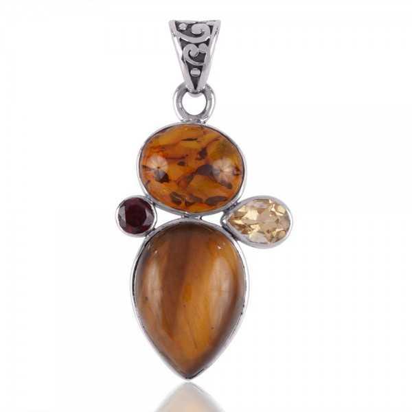 Amber Tiger Eye Citrine and Garnet 925 Silver Gemstone Pendant Necklace