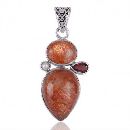 Sunstone Garnet and Pearl Gemstone Sterling Silver Pendant Necklace