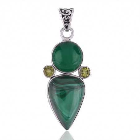 Sterling Silver Malachite Peridot and Green Onyx Green Pendant Necklace