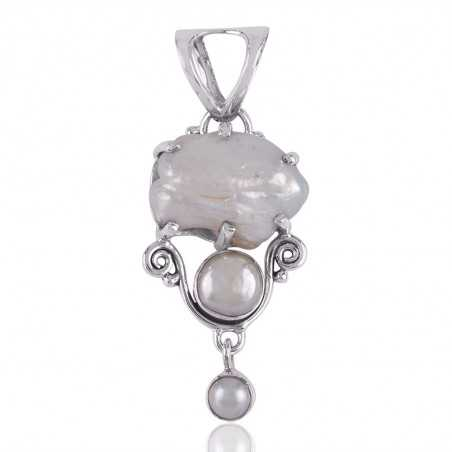 Baroque Pearl and South Sea Pearl White Silver Pendant Necklace