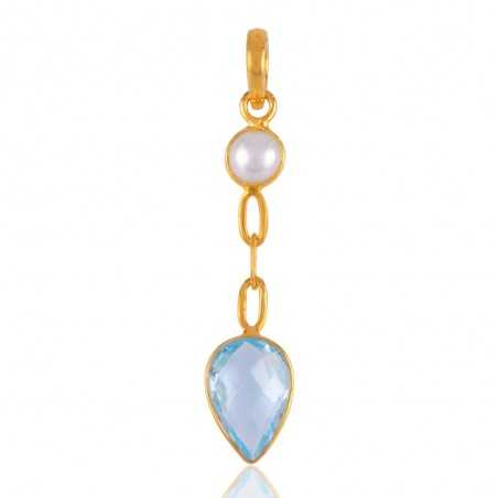 Blue Topaz and Pearl Gold Plated Silver Tear Drop Pendant Locket