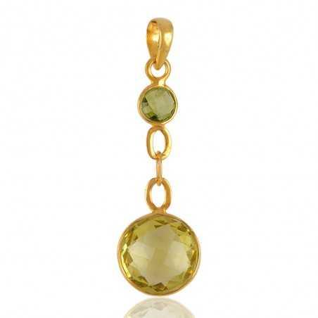 Peridot and Lemon Quartz Gold Plated Silver Tear Drop Pendant Locket