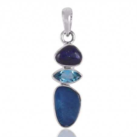 Opal Blue Topaz and Lapis Lazuli Sterling Silver Pendant Jewelry