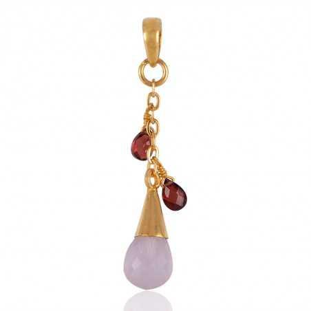 Rose Quartz and Garnet Tear Drop Gold Plated Silver Pendant Locket