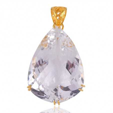 Crystal Quatyz Gold Plated Silver Prong Set Pendant Necklace