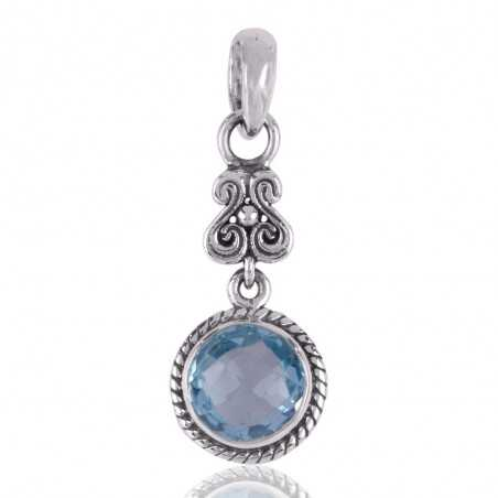 Blue Topaz BT Designer Dangle Sterling Silver Pendant Necklace