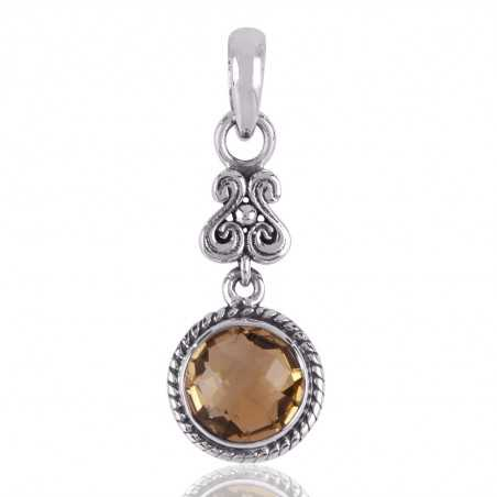 Citrine Designer Dangle Sterling Silver Pendant Locket