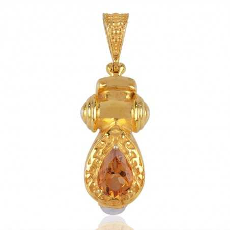18K Yellow Gold Plated Citrine and Pearl Silver Pendant Necklace