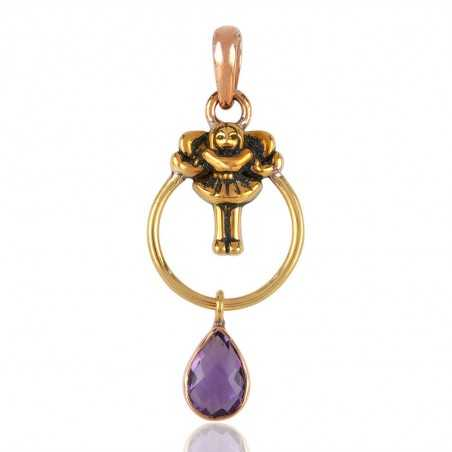 Rose Gold and yellow Gold Plated Solid Silver and Amethyst Charm Pendant