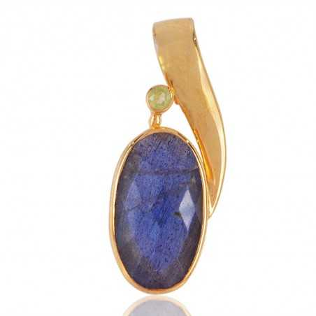 Labradorite and Micro Gold Plated Sterling Silver Designer Pendant Necklace