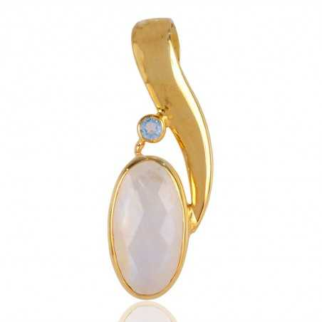 Rainbow Moonstone and Blue Topaz Gold Plated Silver Pendant