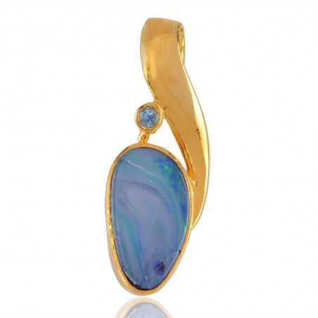 Opal and Blue Topaz Gold Plated Locket Pendant