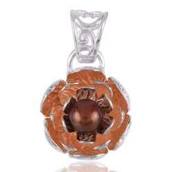 Color Pearl and Solid Silver Lotus Pendant Rose Gold Plated over Silver