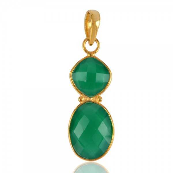 Green Onyx Gold Plated Sterling Silver Pendant Green Stone Jewelry