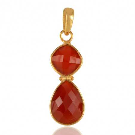 18K Gold Overlay Sterling Silver and Red Onyx Gemstone Pendant Necklace