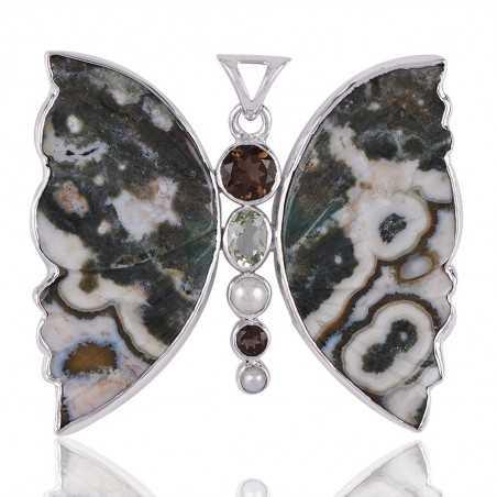 Ocean Jasper Butterfly Green Amethyst Smoky Pearl and Silver Pendant