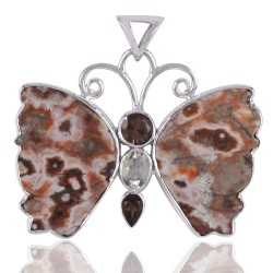 Ocean Jasper Butterfly Green Amethyst Smoky and Silver Pendant