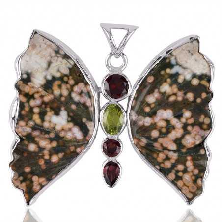 Ocean Jasper Garnet Peridot and Silver Butterfly Pendant