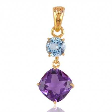 Blue Topaz and Amethyst Gold Plated Dangle Pendant