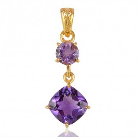 Sterling Silver and Amethyst Gold Plated Dangle Pendant Locket