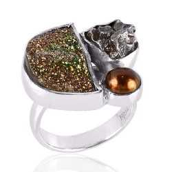 Shining Druzy Pearl and Meteorite Solid Silver Ring