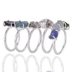 Set of 5 Rings Silver Amonite Meteorite Herkimer Diamond Tanzanite Moldavite Rough Stone Ring