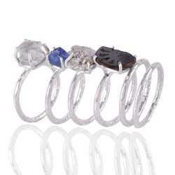 Set of 6 Rings Silver Amonite Meteorite Herkimer Diamond Tanzanite Rough Gemstone Ring