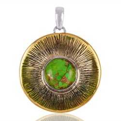 Silver and Brass Two Tone Two Metal Pendant with Green Copper Turquoise Gemstone