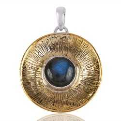 Silver and Brass Two Tone Two Metal Pendant with Labradorite Gemstone