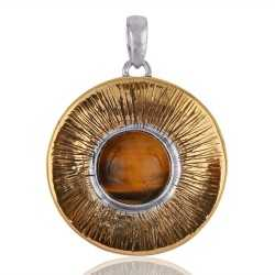 Silver and Brass Two Tone Two Metal Pendant with Tiger Eye Gemstone