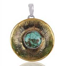 Silver and Brass Two Tone Two Metal Pendant with Turquoise Gemstone