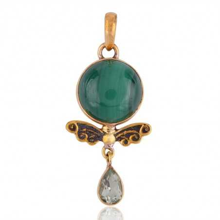 Gold Plated Green Amethyst and Malachite Natural Gemstone Pendant