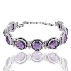 Amethyst and Sterling Silver Gmestone Designer Bracelet