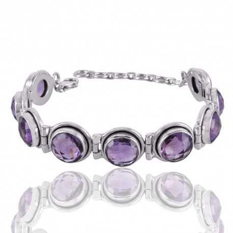 Amethyst and Sterling Silver Gemstone Designer Bracelet