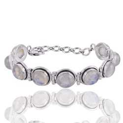 Rainbow Moonstone and Sterling Silver Gmestone Designer Bracelet