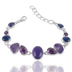 Charoite Amethyst and Kyanite 925 Silver Bracelet