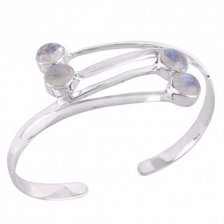 Rainbow Moonstone and Sterling Silver Cuff Bangle Bracelet