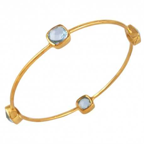 Blue Topaz and Gold Plated Sterling Silver Bangle Bracelet