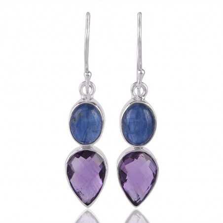 Kyanite and Amethyst Sterling Silver Drop Earrings