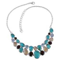 Blue Turquoise Rutilated Quartz Rutile Blue Topaz and Smoky Solid Silver Necklace
